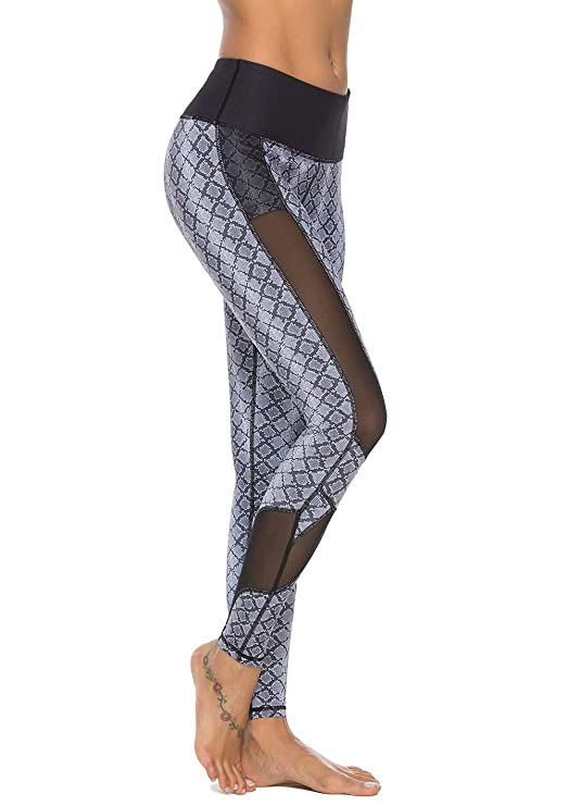 Mint Lilac Women's High Waist Printed Workout Yoga Leggings Athletic Tummy Control Casual Pants with Mesh Panels Dark Gray Medium best fitness leggings
