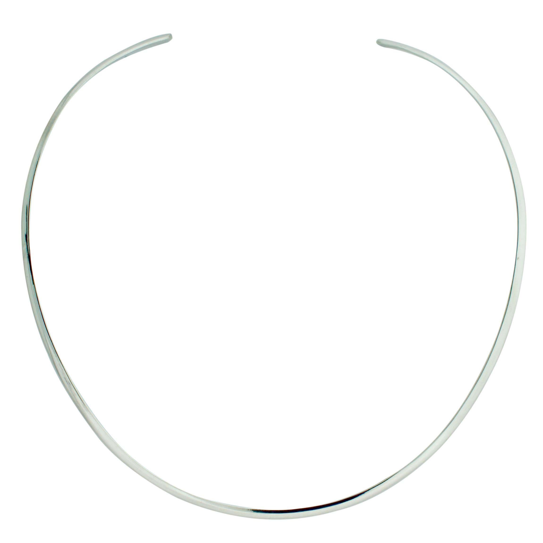 Sterling Silver Oval 4mm Dome 16 Inch Collar Hammered or Plain Choker by Avatar Sterling