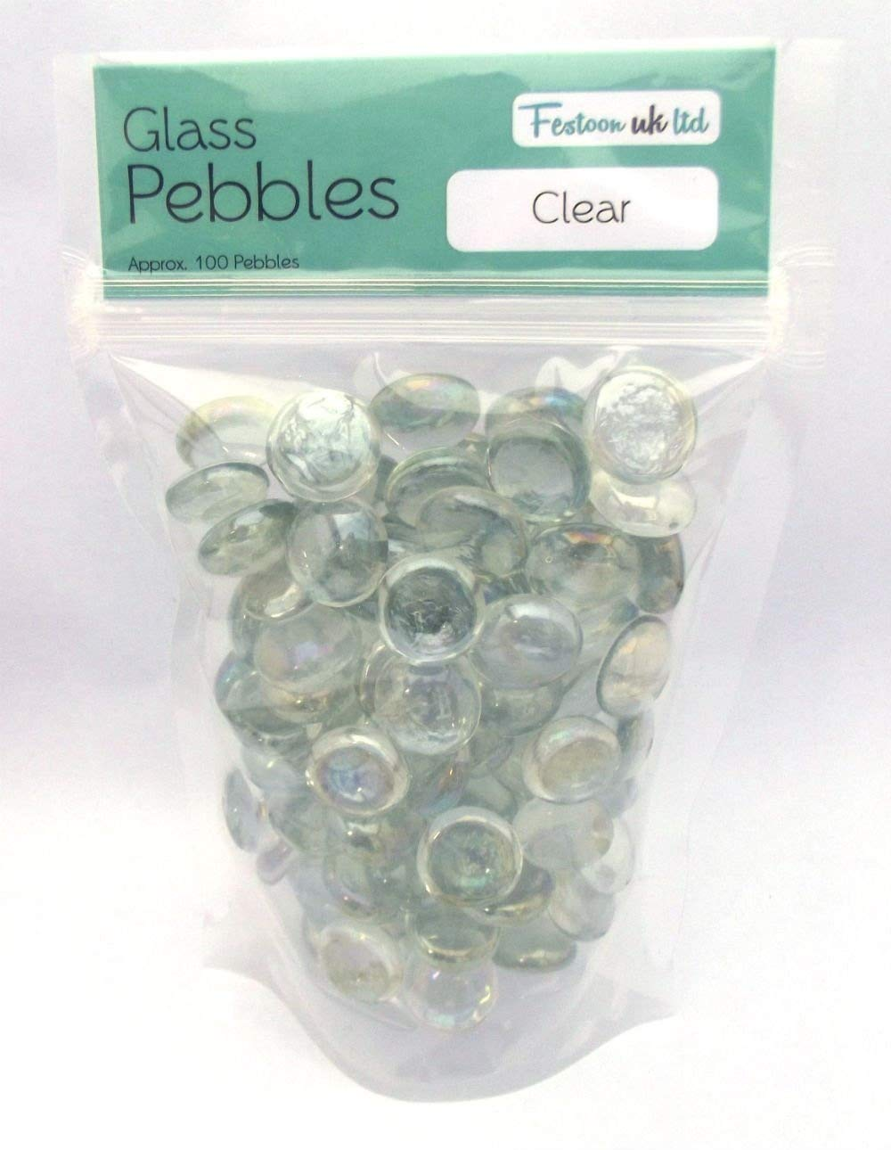 100 Approx. Clear Round Decorative Glass Pebbles / Stones / Beads / Nuggets by The Glass Pebble Shop