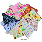 """Wonder Care - Reusable Baby Cloth Wipes 5""""x 7"""" Inches- 100% Cotton Flannel Cloth- 2 Layers-ultra Soft - Assorted Color Prints with Free Box - (10 Count)"""
