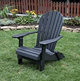 BLACK-POLY LUMBER Folding Adirondack Chair with Rolled Seating Heavy Duty EVERLASTING Lifetime PolyTuf HDPE – MADE IN USA – AMISH CRAFTED