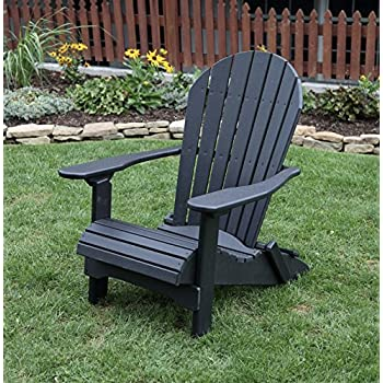 Superbe BLACK POLY LUMBER Folding Adirondack Chair With Rolled Seating Heavy Duty  EVERLASTING Lifetime PolyTuf HDPE