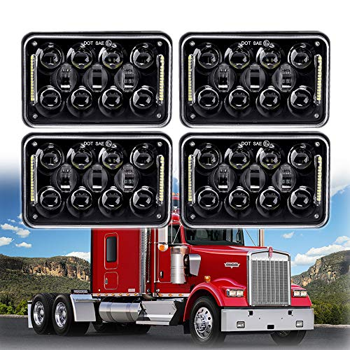 New Osram 4x6 inch 60W LED Headlights Rectangular Replacement H4651 H4652 H4656 H4666 H6545 with DRL for Peterbil Kenworth Freightinger Ford Probe Chevrolet Oldsmobile ()