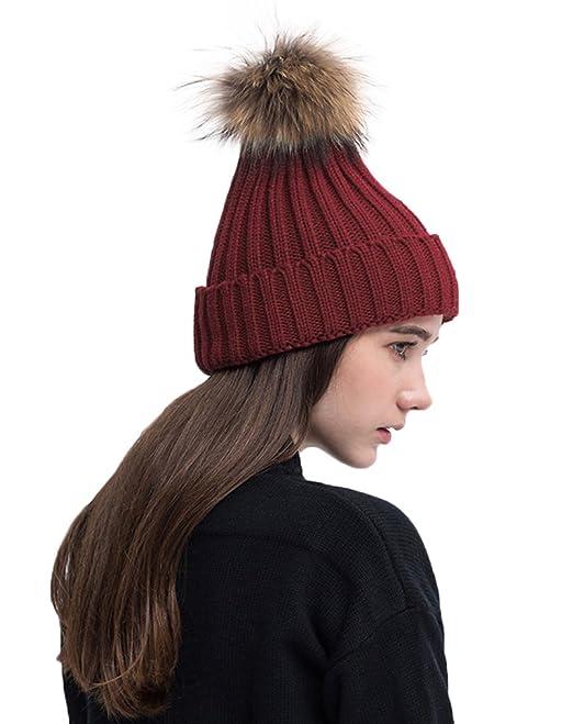 PassMe Cappello Invernale Donna Maglia con Pompon di Pelliccia Cappellino  Lana Caldo Berretto Beanie Hat Sci Snowboard  Amazon.it  Abbigliamento 30891ce30e83