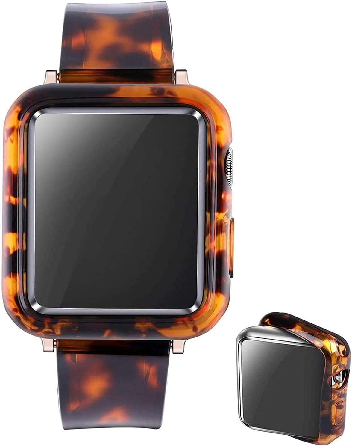 Omter Band with Bumper Compatible with Apple Watch 38mm 40mm 42mm 44mm, Men Women Soft Silicone Wristband Strap with case for iWatch Series 6/5/4/3/2/1/SE(Rose Gold Tortoise-Tone, 38mm)