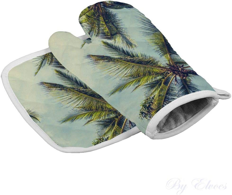 Oven Mitts with Pot Pads 2-Piece Set Heat Resistant Non-Slip Gloves Holders, Palm Tree Leaf Tropical, Kitchen Set for Cooking Baking