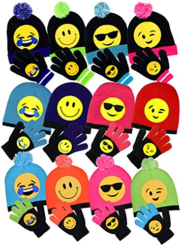 Girls Emoji Smiley Face Cuffed Knit Beanie with Pom & Gloves Set 4 Fun Designs - Blue Sunglasses Juice