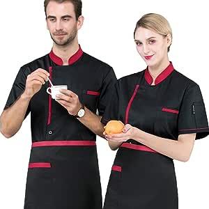 XRRa&XF Unisexo Mujeres Hombre Moda Verano Manga Corta Camisa de Cocinero Transpirable Chaquetas de Chef Uniforme Cocina Restaurante Occidental,Negro,M: Amazon.es: Deportes y aire libre