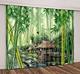 Bamboo Forest Decor Curtains By LB,Green Bamboo Tree and Pavilion 3D Window Treatment Spa Zen Curtain Living Room Bedroom Window Drapes 2 Panels Set,104W x 63L Inches