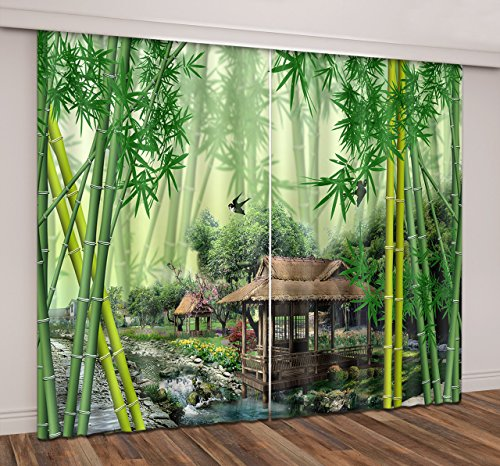 Bamboo Forest Decor Curtains By LB,Green Bamboo Tree and Pavilion 3D Window Treatment Spa Zen Curtain Living Room Bedroom Window Drapes 2 Panels Set,104W x 63L Inches by LB (Image #1)
