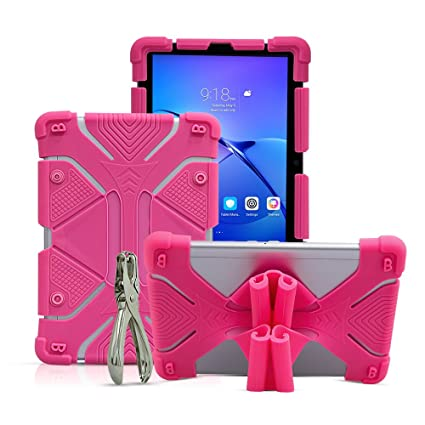 size 40 26210 9c5ef Universal 8.9~10.1 inch Tablet Case, Shockproof Silicone Protective Stand  Cover for New iPad 2018, Samsung Galaxy Tab S2/S3 9.7 inch, Kindle Fire HD  ...