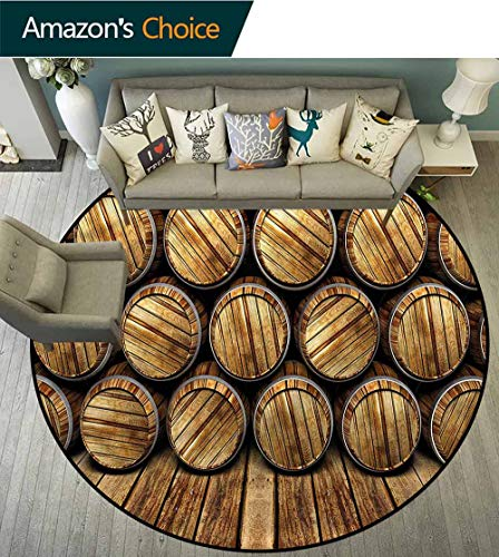 RUGSMAT Man Cave Modern Machine Washable Round Bath Mat,Wall of Wooden Barrels Foam Mat Bedroom Decor Bedroom Round-31