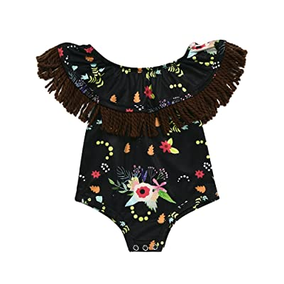 5a1070f2af4 Birdfly Toddler Baby Kid Girls Cute Floral Print Romper Jumpsuit with Neck  Bib