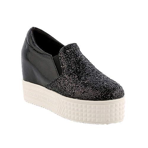 Primavera Otoño Damas Plataforma Brillo Mocasines de tacón con cuña Zapatos de Suela Gruesa Slip-