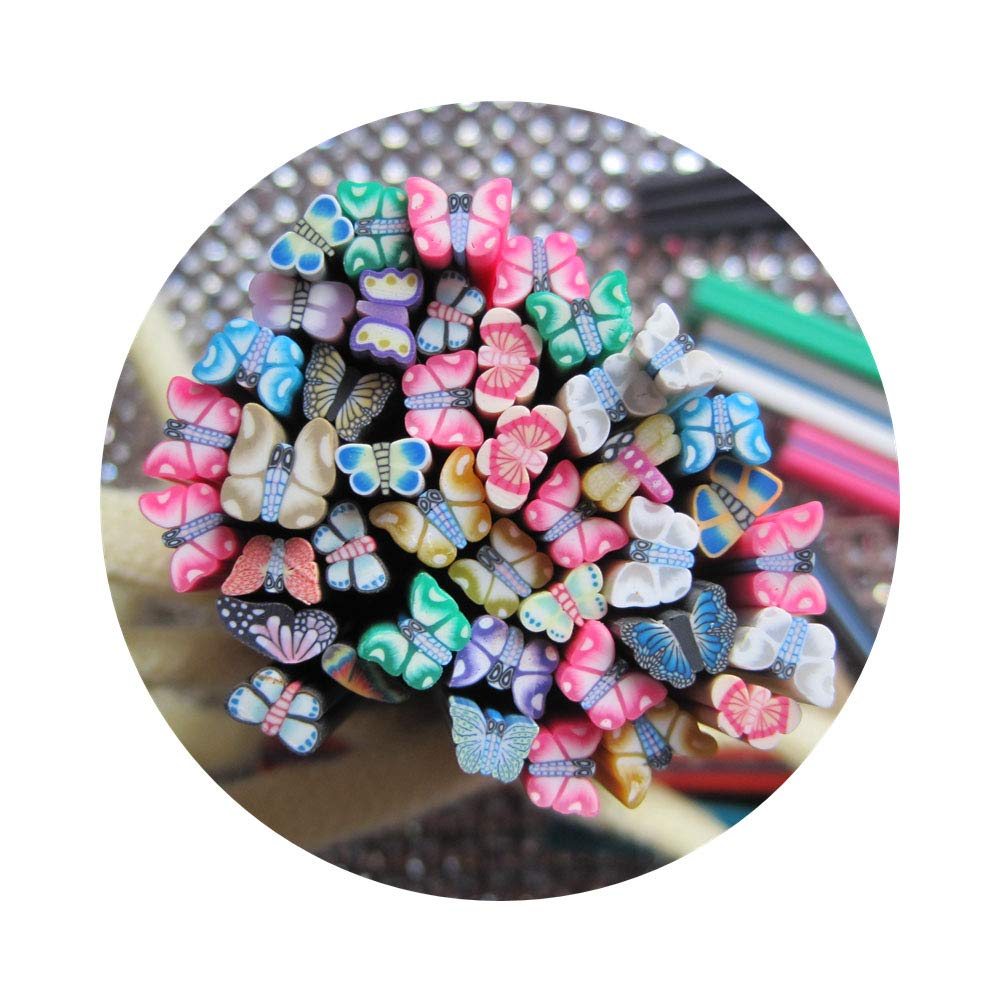 100pcs/bag Nail Art Different Mix Design Polymer Clay Cane Fruit Flower Cake Bow Mix Bag (Butterfly Mix) by Nail Angel