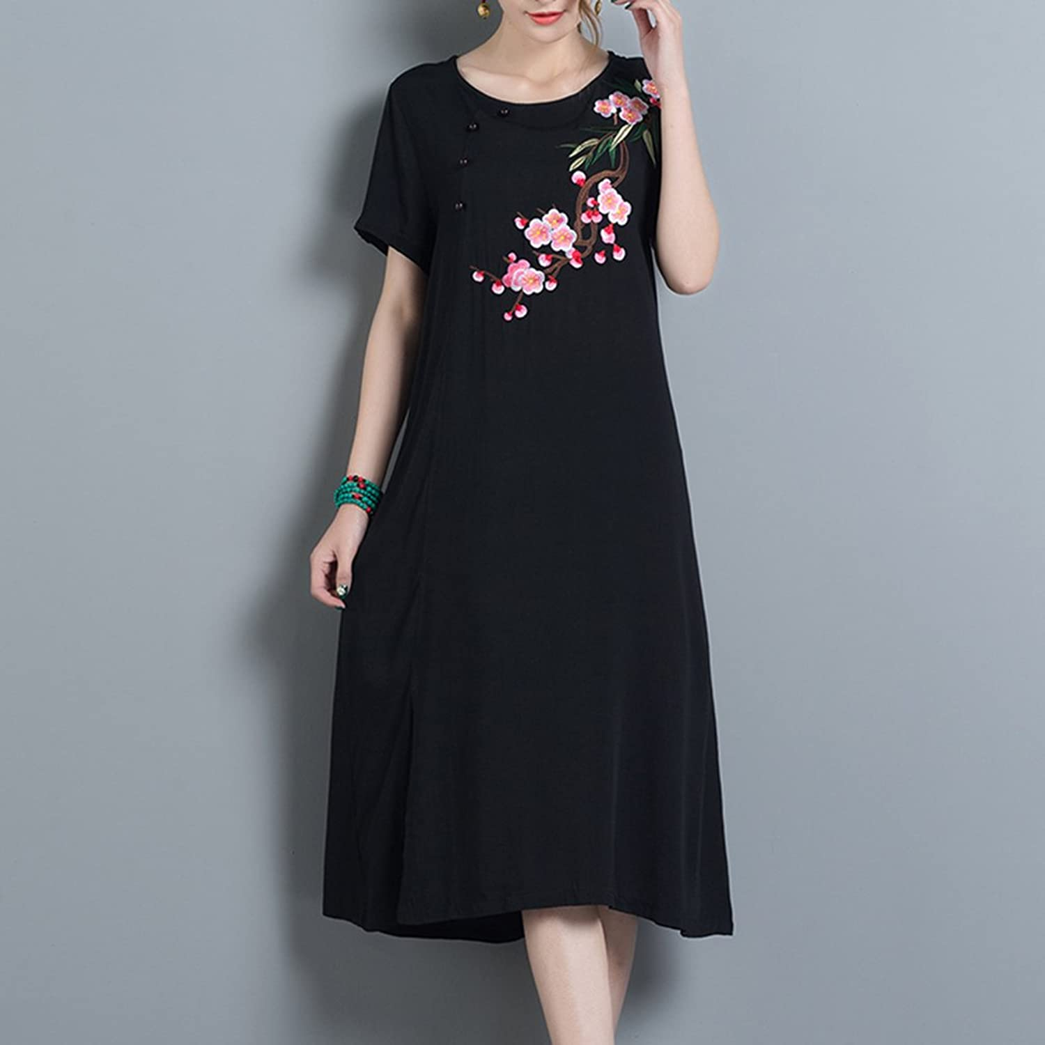Women Cotton Embroidered Mexican Dress Side Split Long Maxi A-line ...