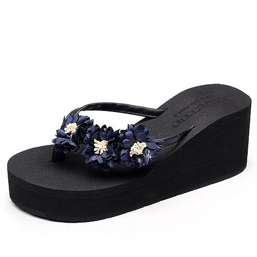 1b4885e3cd3c Eagsouni® Bohemia Flip Flops Daisy Platform Wedge Sandals