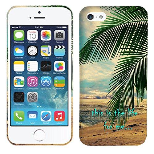 Glisten - Designer Hard Plastic Case for iPhone SE / 5 / 5S - Palm Trees - This is the Life Hard Plastic Back Cover. Slim Profile Cute Printed Designer Snap on Case by Glisten (Wood Tree Iphone 5 Case)
