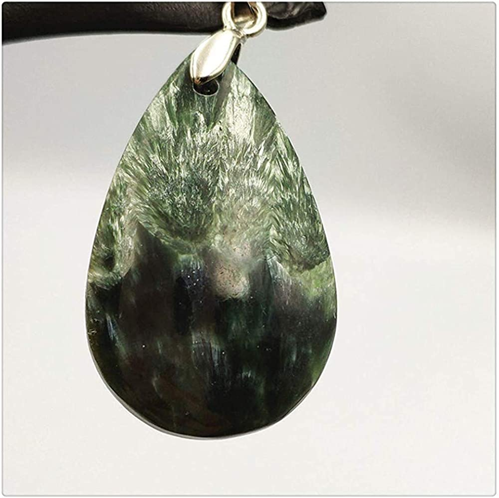 Natural Green Seraphinite Necklace Pendant 34x22x9mm Size Lady Woman Female Crystal Jewelry Healing Stone Gemstone Pendant AAAA