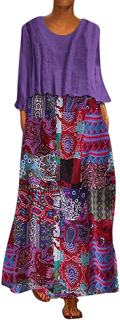 FEISI22Women's Printing Dress Travel Line Clothing Abstract Printing Baggy Dress Ethnic Style Print Vintage Long Skirt