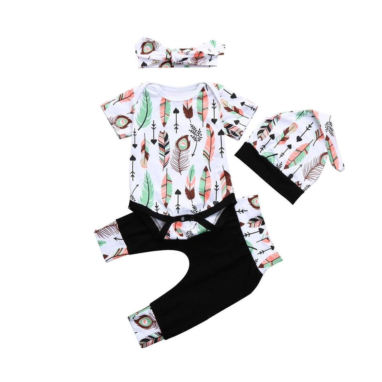 4 Pcs Infantile Bébé Garçons Filles Lettre Imprimer Barboteuses Salopette Pantalon Chapeau Ensemble Tenues, BZLine Enfants Vêtements D'été