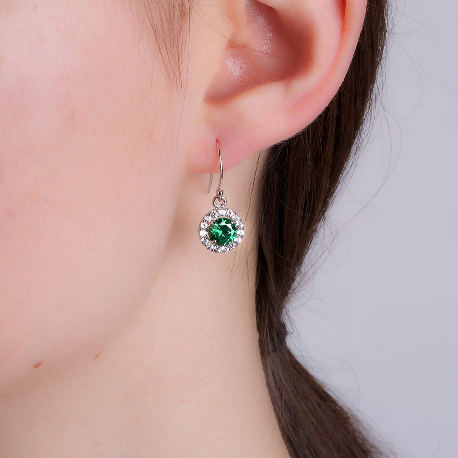 Stardust 2.3ct Emerald and Diamond Halo Silver Stud Earrings (WHITE GOLD) zDM37RDcm