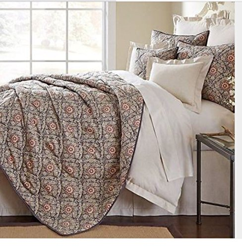 Noble Excellence Queen Montay Coverlet Set 3 Piece Coverlet 2 Standard Shams Tan Blue Rust Berries Flowers - Berry Standard Sham