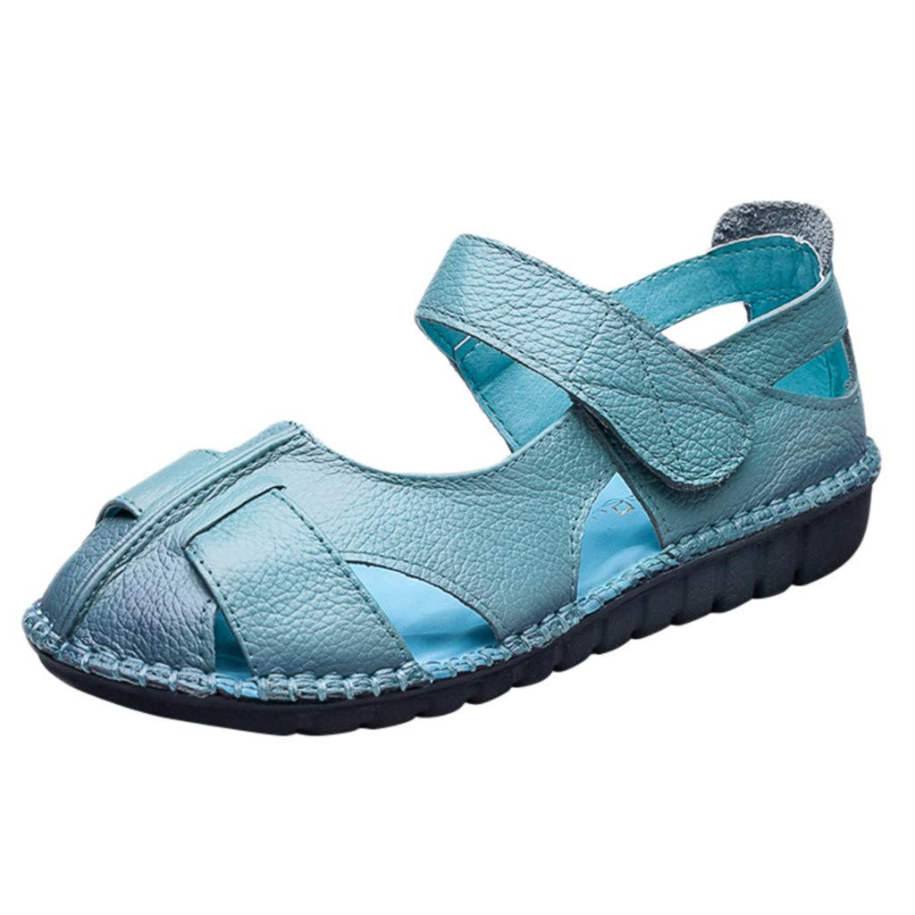 〓COOlCCI〓Women's Leather Sandals Flats Comfortable Summer Non-Slip Hollow Closed Toe Sandals Walking Driving Shoes Blue by COOlCCI_Shoes