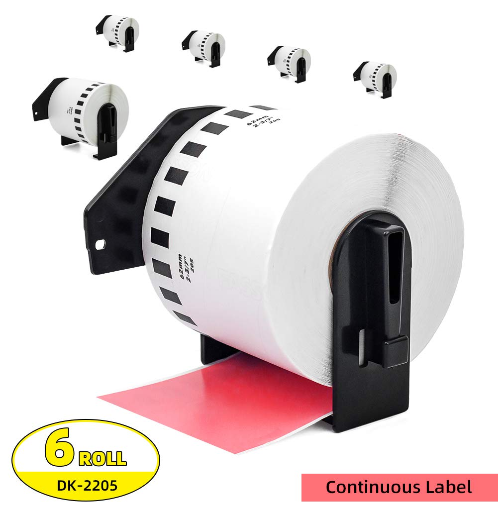 1Roll Label Orison -Compatible with Brother DK-2205 Paper Continuous Labels Black on Red 62mm x 30.48m with Non-refillable Cartridge for QL-500 QL-700 Printer 2-3//7 x 100
