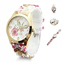 TrifyCore Reloj de Pulsera para Mujer Que Diseño de Flores de Silicona Causal de Pulsera de Cuarzo