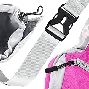 ErgaLogik Day Trekker - Hiking Waist Pack with Water Bottle (Not Included) Holder - Fanny Pack - Dog Walking - Running Belt Bag Pouch Fanny Pack for Hiking Running Cycling Camping Travel (Pink)
