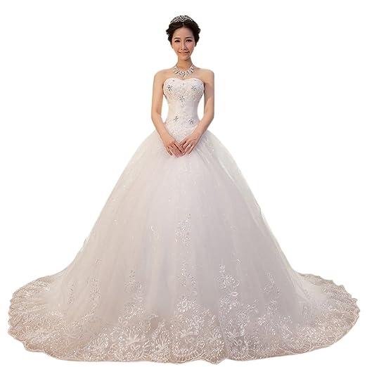 Dearta Women S Ball Gown Sweetheart Chapel Traintulle Wedding