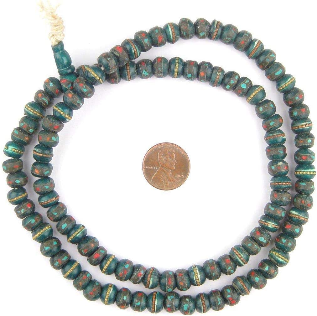 Mala Meditation Beads Jewelry Necklace 108 Inlaid Prayer Beads for Yoga The Bead Chest 8mm, Green Bone