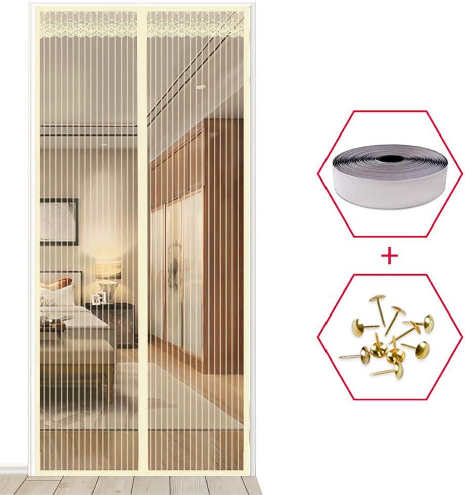 YXDDG T/ür-moskitonetz mit Magnet-schiebet/ür Schwerer netzvorhang Katze Beweis Guard Anti-moskito-Magie mesh Full-Frame-Balkon-Design-Creme Farben 70x200cm 28x79inch
