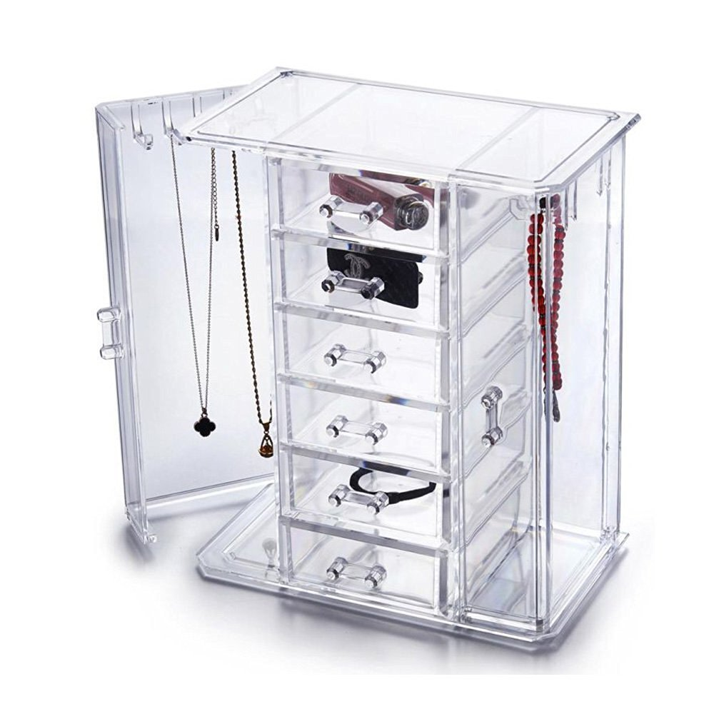 HQdeal Deluxe Acrylic Jewellery// Makeup Chest Organiser Storage Box Necklace// Chain Hanger Organiser with 6 Drawers