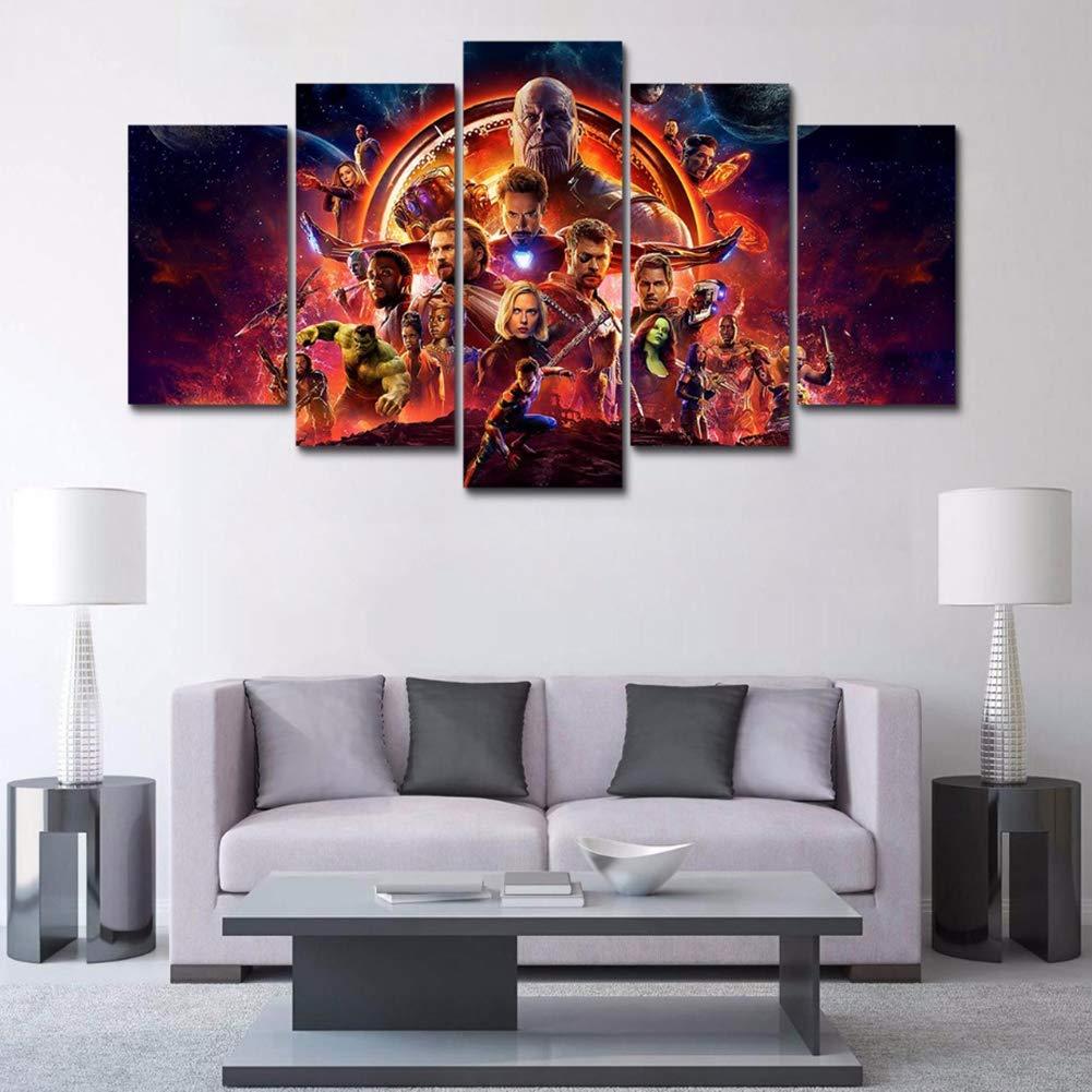 CXDM Segeltuch HD gedruckt Malerei Wandkunst 5 Panel Marvel Avengers: Infinity War Poster Für Wohnzimmer Dekor