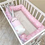 Lick Lip Baby Crib Bumper Knotted Braided Plush Nursery Cradle Decor Newborn Gift Pillow Cushion Junior Bed Sleep Bumper (157'', Unicorn)