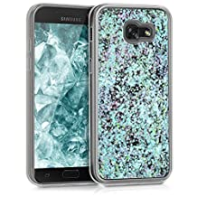 kwmobile hardcase cover for Samsung Galaxy A5 (2017) with liquid - hardcase backcover protective case water with Design glitter snow globe in light blue transparent