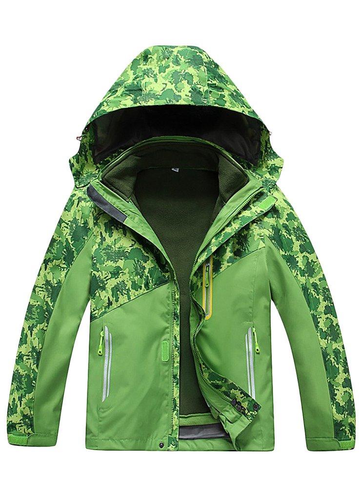 OUO Jungen Mädchen Jacke 2-in-1 Jacket Outdoor Herbst Winter kälteschutz Kapuze Reißverschluss