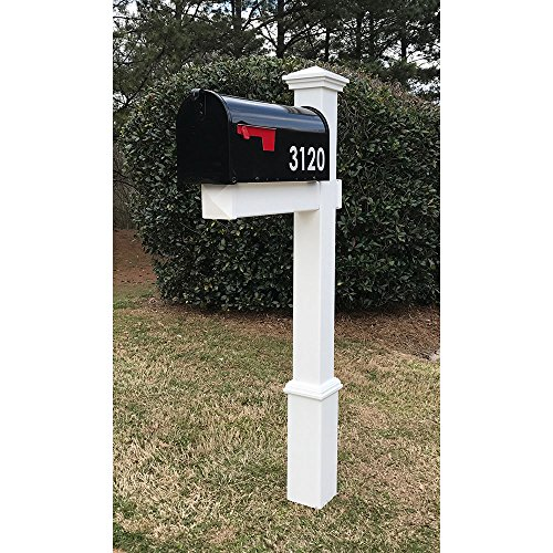 4EVER The Homestead Vinyl/PVC Mailbox Post (Includes Mailbox) - Parent (White Reflective Numbers)