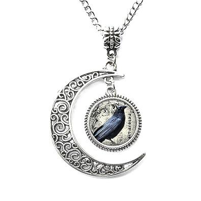 1e119d2751cc Amazon.com: Charm Crescent Moon Poe's Raven Pendant, Raven Necklace ...