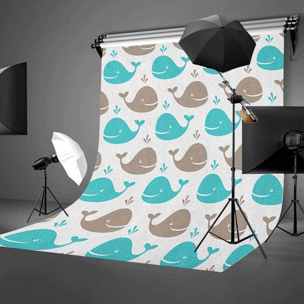 9x16 FT Sea Animals Vinyl Photography Backdrop,Pattern Smiling Whale Cartoon Repeated Design Children Illustration Background for Photo Backdrop Baby Newborn Photo Studio Props