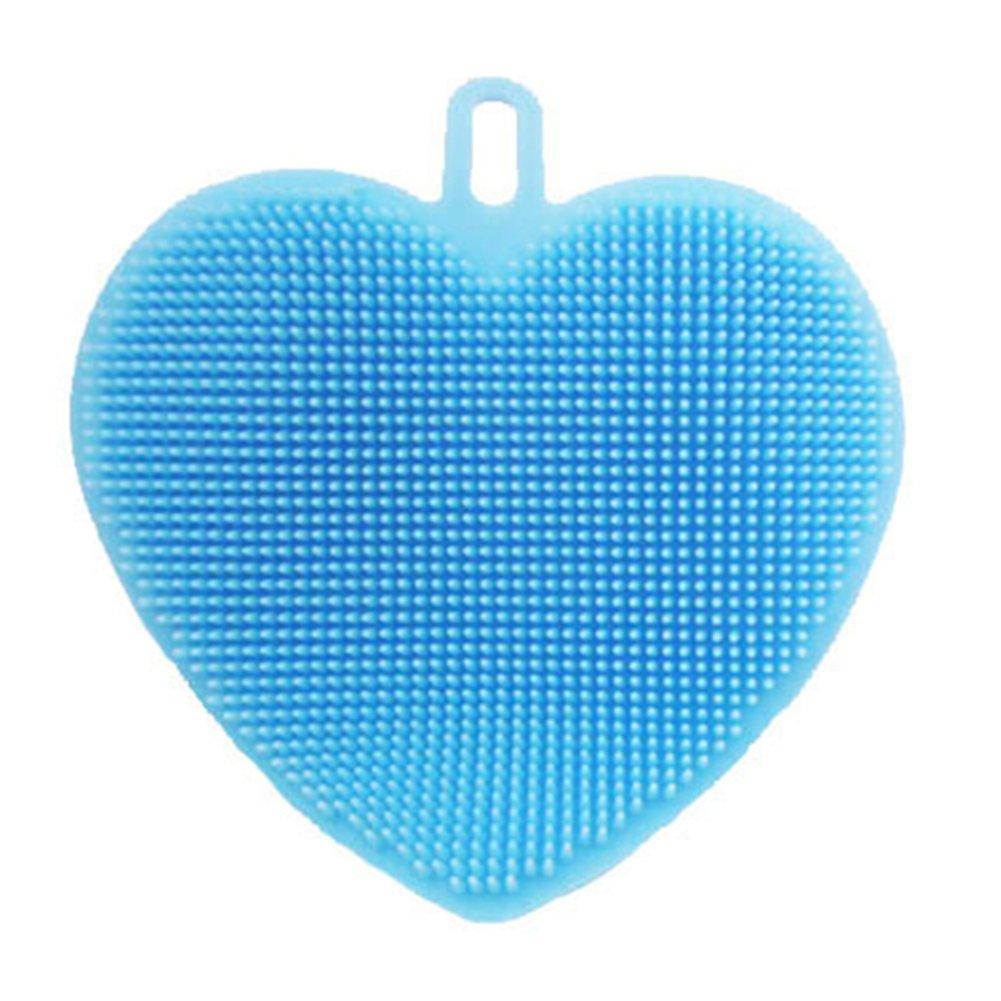 coloridoソフトシリコンハートScrubber家庭用キッチンフルーツディッシュ洗濯クリーニングツール M ブルー C5T00H1760JCJ316AFU9 B078TGDBBZ ブルー