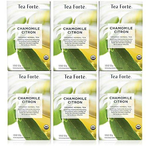 Tea Forte Organic CHAMOMILE CITRON Herbal Tea, 96 Filter Tea Bags (6 Packs of 16 Tea Bags)