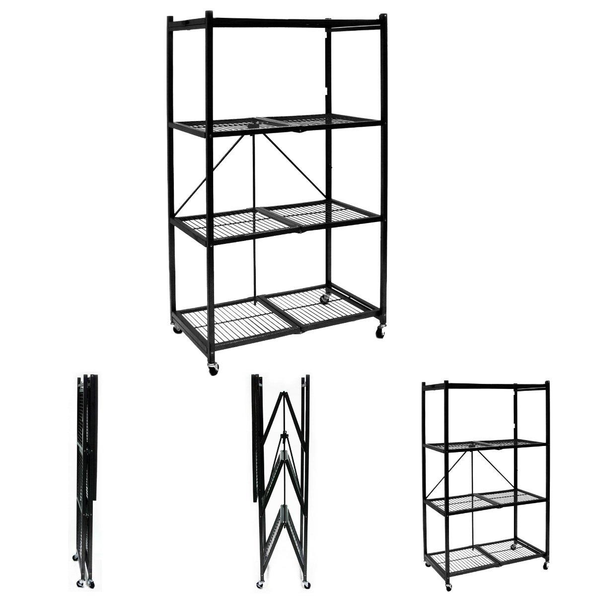 Origami Storage Solutions R1407W Four Shelf Steel Collapsible Garage Storage Rack w/ Wheels by Pop It