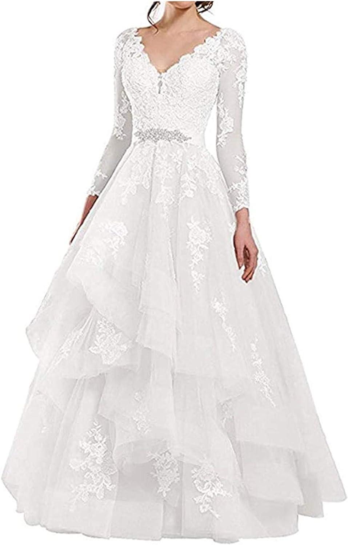 Amazon Com Awishwill See Through Long Sleeve Applique Wedding Dresses Double V Neck Ruffled Organza Bridal Dress For Bride Clothing