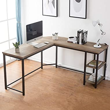 FurnichoiComputerDeskL-Shaped, Vintage Wood and Metal L Desk with Shelf, for Home Office 59 inch