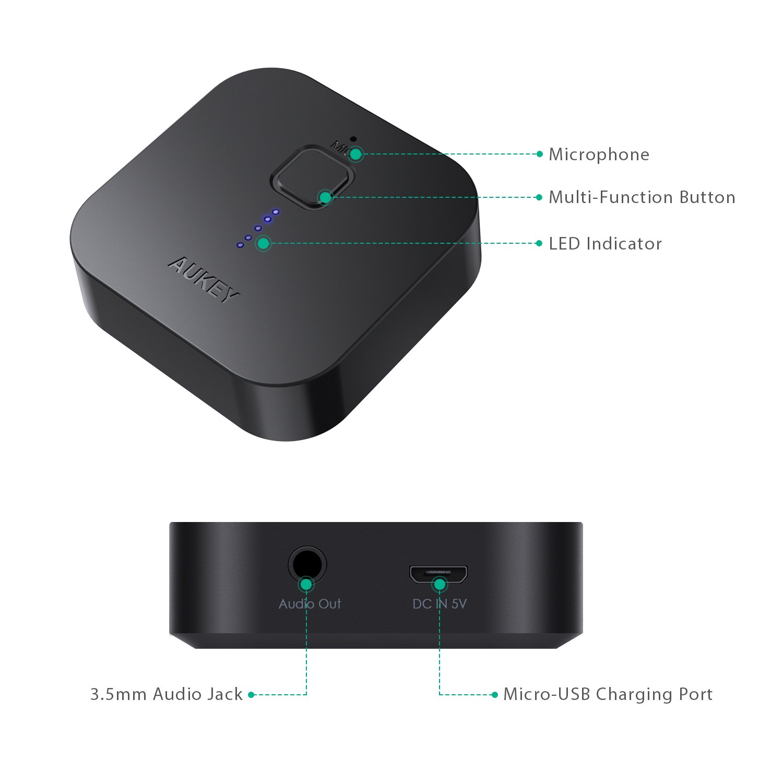 AUKEY R/écepteur Bluetooth 4.1 Adaptateur Audio Sans Fil Deux connexions Kit auto voiture Mains Libres avec microphone int/égr/é et sortie st/ér/éo 3,5mm pour audio streaming maison