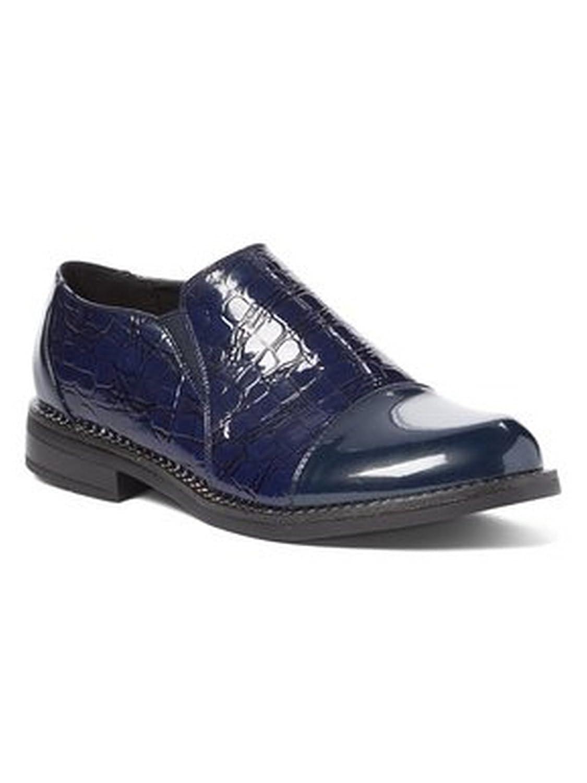 Liyu Adult Blue Croc Pattern Plain Cap Toe Slip-On Oxford Shoes 6-11 Women