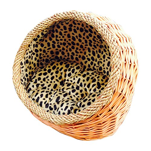Hooded wicker cat bed with cushion
